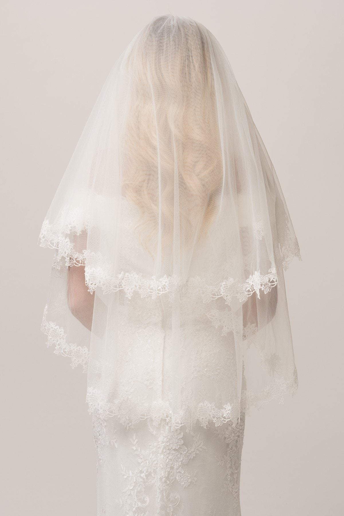 Lace Embroidered Edged Finger Tip Tier Wedding Veil