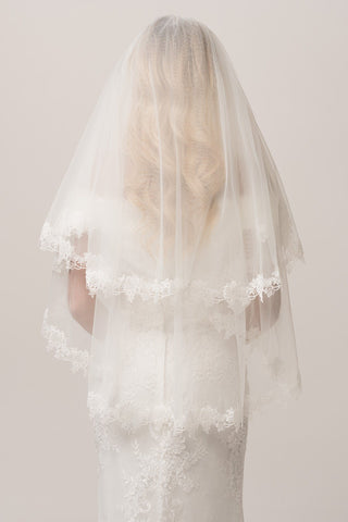 lace embroidered edged finger tip 2 tier wedding veil FRW17109V - Simply Fab Dress