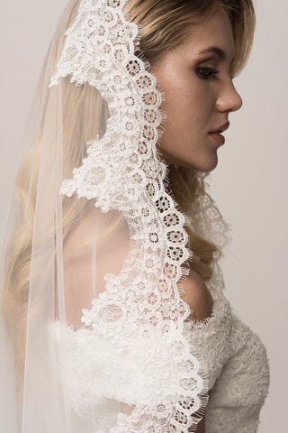 Lace edged court train 1 tier wedding veil BC#FRW17110V - Simply Fab Dress