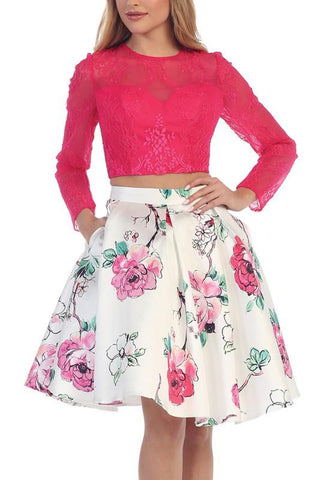 Fuchsia pink long sleeve lace crop top two piece homecoming dress  LT #6062 - Simply Fab Dress