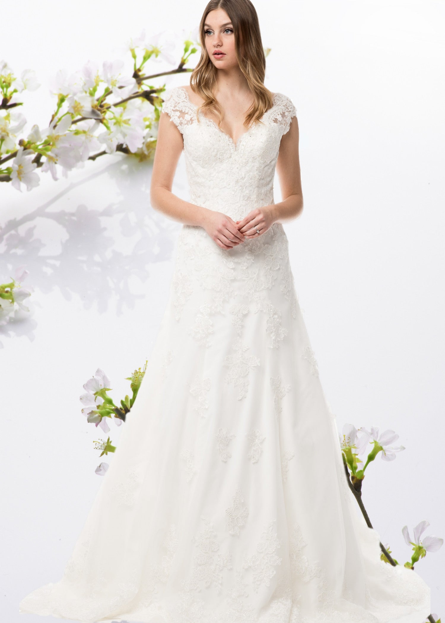 Cap sleeve  fit and flare lacewedding dress BC#WYW2279 - Simply Fab Dress