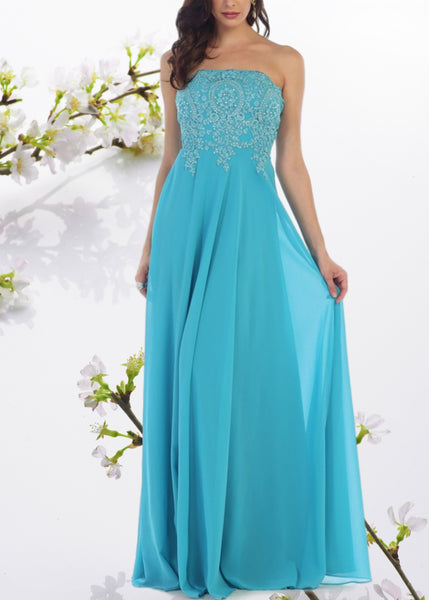 Strapless long chiffon cheap bridesmaid dress MQ1277 - Simply Fab Dress