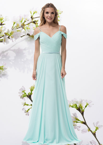 Off the shoulders long chiffon bridesmaid dress BC#TR26336 - Simply Fab Dress