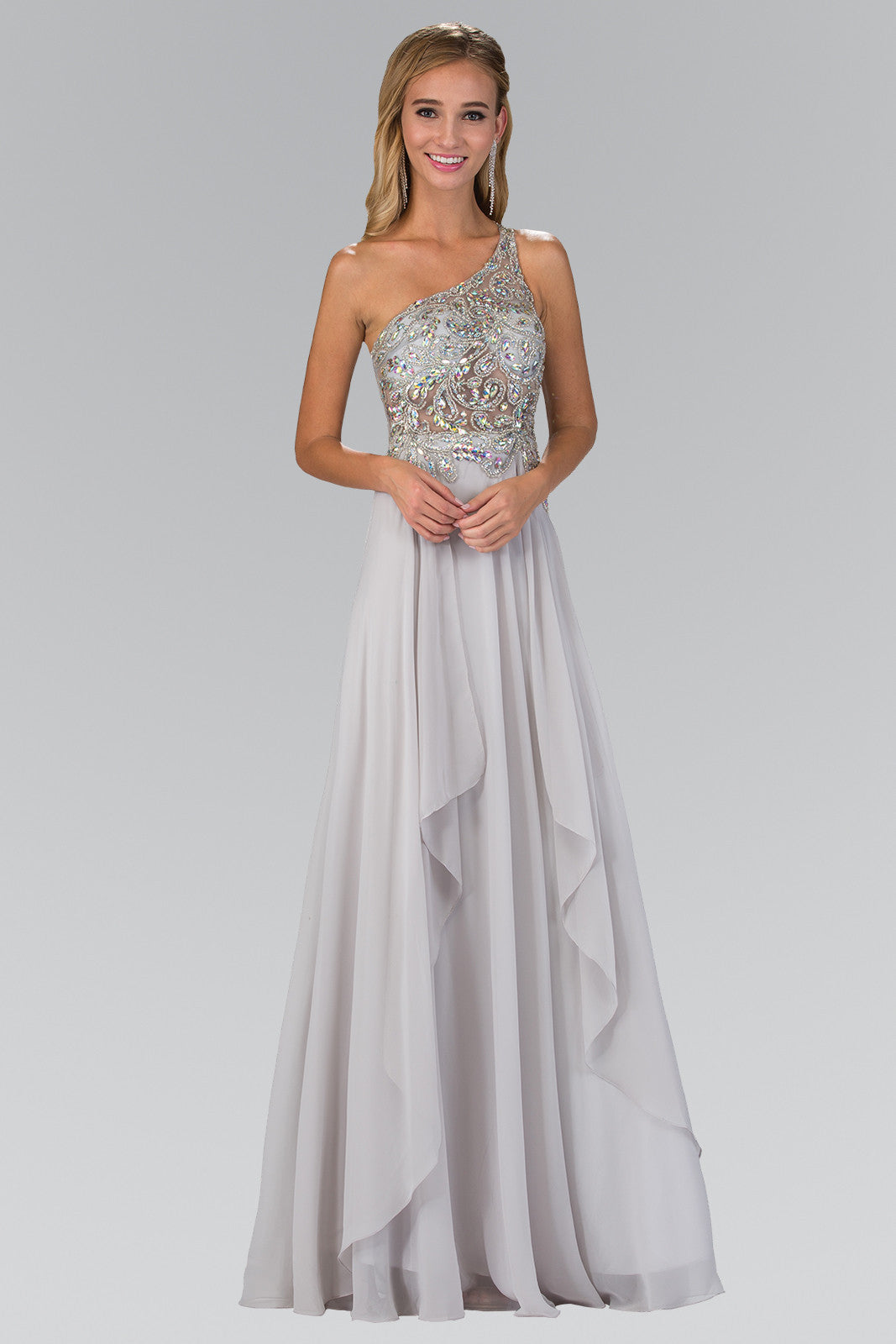 Sparkling One Strap empire waist long chiffon formal dress #gl1128