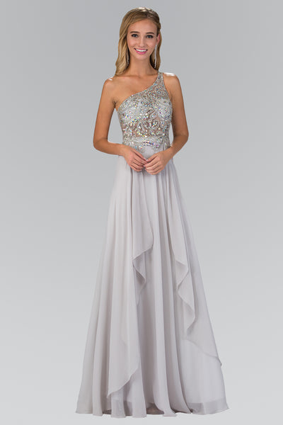 Sparkling One Strap empire waist long chiffon formal dress #gl1128 - Simply Fab Dress