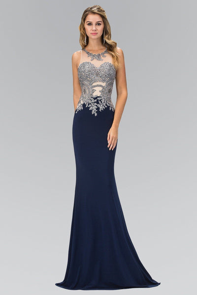 Beaded Illusion Bodice cut out back formal & evening gown 103-GL1331 - Simply Fab Dress