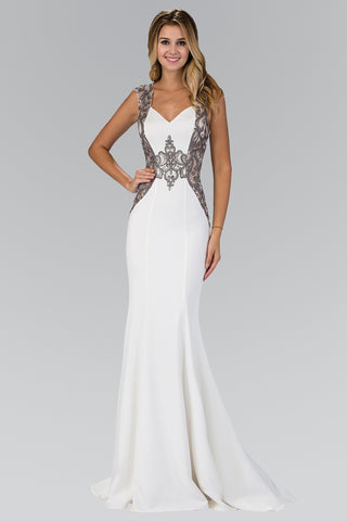 Beaded Illusion cut out back formal dress & evening gown 103-GL1347 - Simply Fab Dress
