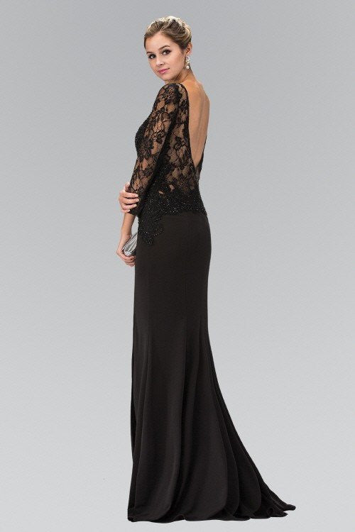 Black long sleeve evening dress