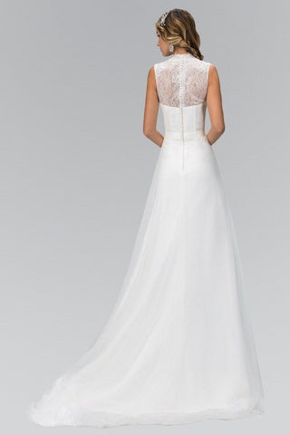 Lace Top Sleeveless Illusion Back A-Line Wedding Dress gl1416 - Simply Fab Dress
