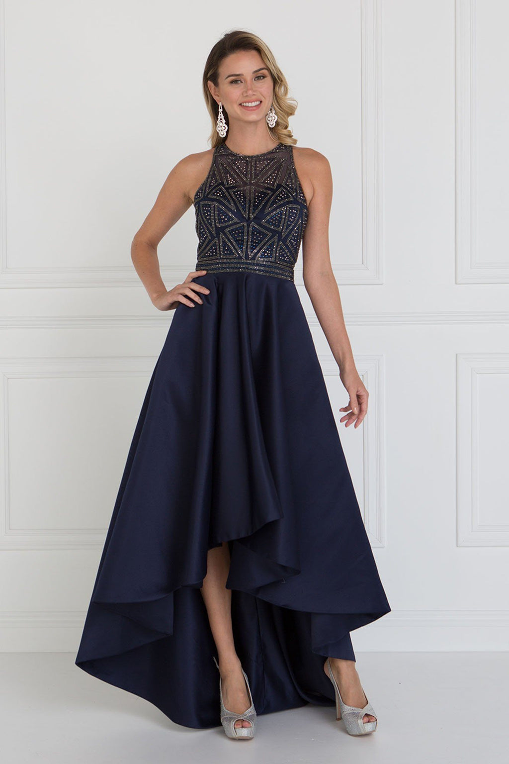 Jeweled high neck high-low prom dress GLS 1501-Simply Fab Dress