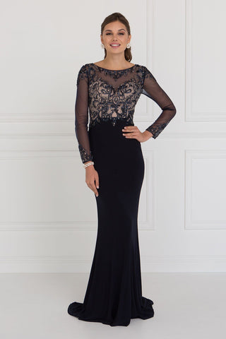 Long sleeve prom dress & fitted evening gown GLS 1506-Simply Fab Dress