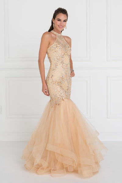 Sparkly high neck champagne mermaid prom dress GLS 1512G-Simply Fab Dress