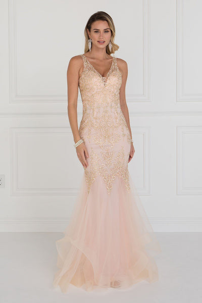 Pink mermaid lace prom dress GLS 1518P-Simply Fab Dress