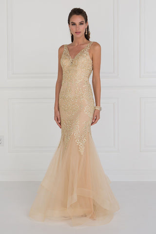 Champagne mermaid prom dress with ruffles GLS 1518C-Simply Fab Dress