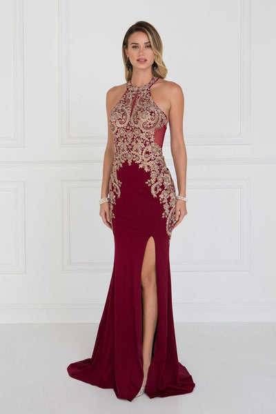 Burgundy Fitted prom dress with slit GLS 1519B-Simply Fab Dress