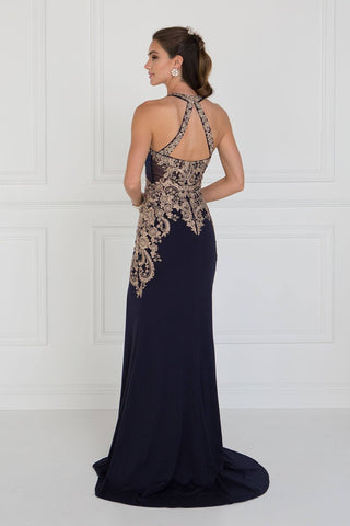 Seductive Navy evening gown with slit GLS 1519N-Simply Fab Dress
