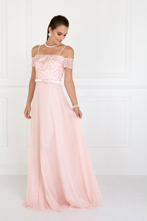 Off the shoulders bridesmaid dress with lace top   GLS 1521