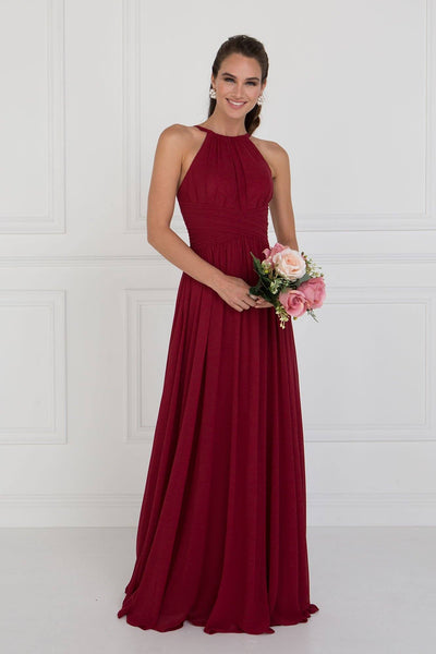 Halter top long chiffon bridesmaid dress GLS 1524-Simply Fab Dress