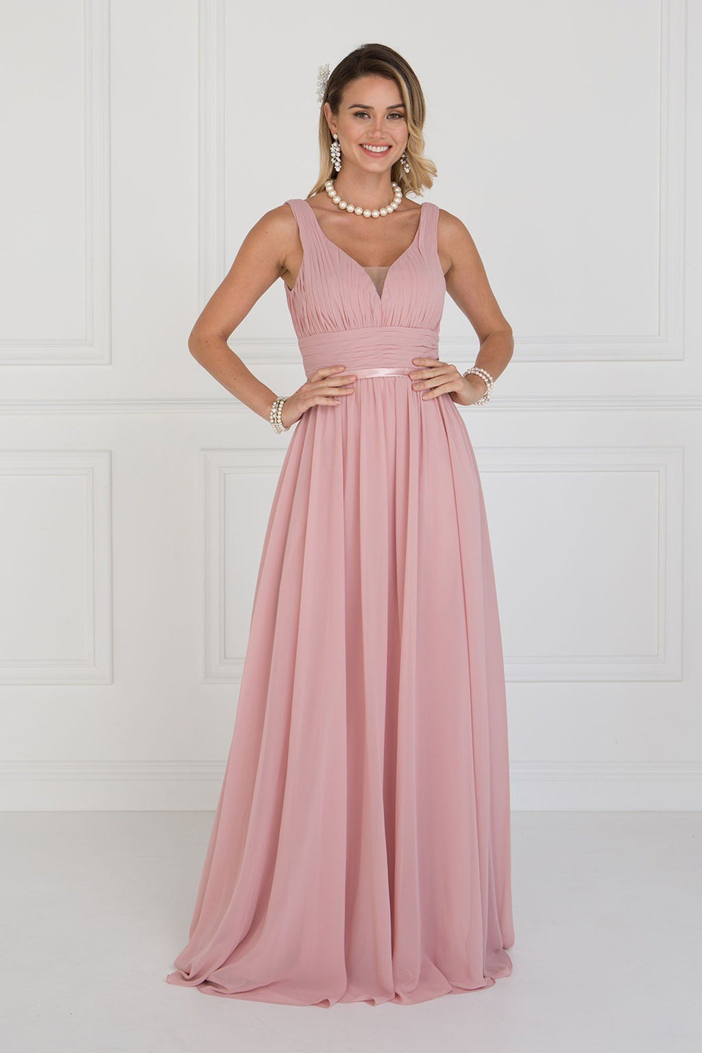 Ruched long bridesmaid dress  GLS 1525