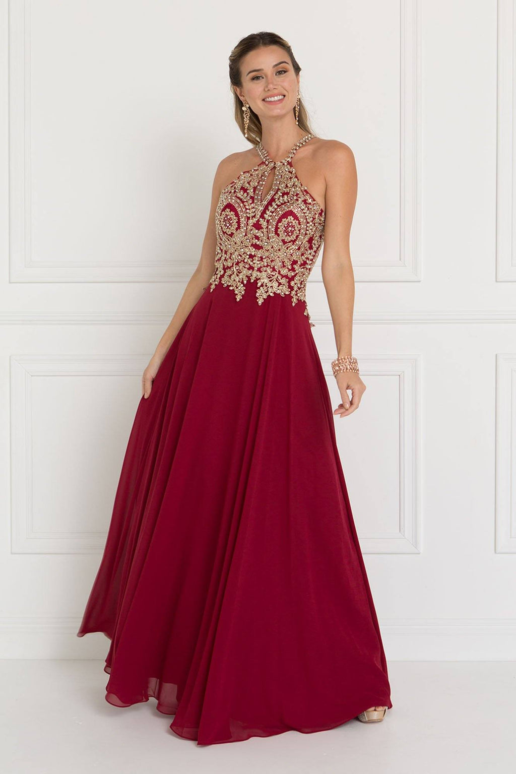 Burgundy long prom dress GLS 1526-Simply Fab Dress