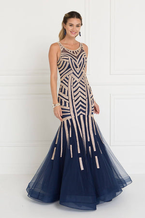 Sparkly navy mermaid prom dress GLS 1541C-Simply Fab Dress