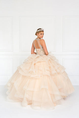 Champagne puffy quinceanera dress GLS 1552-Simply Fab Dress