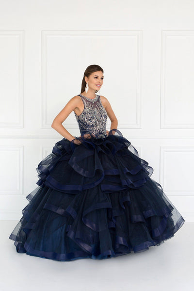Navy blue quinceanera dress GLS 1552-Simply Fab Dress