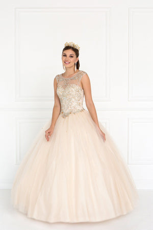 Princess Champagne prom dress GLS 1559C-Simply Fab Dress