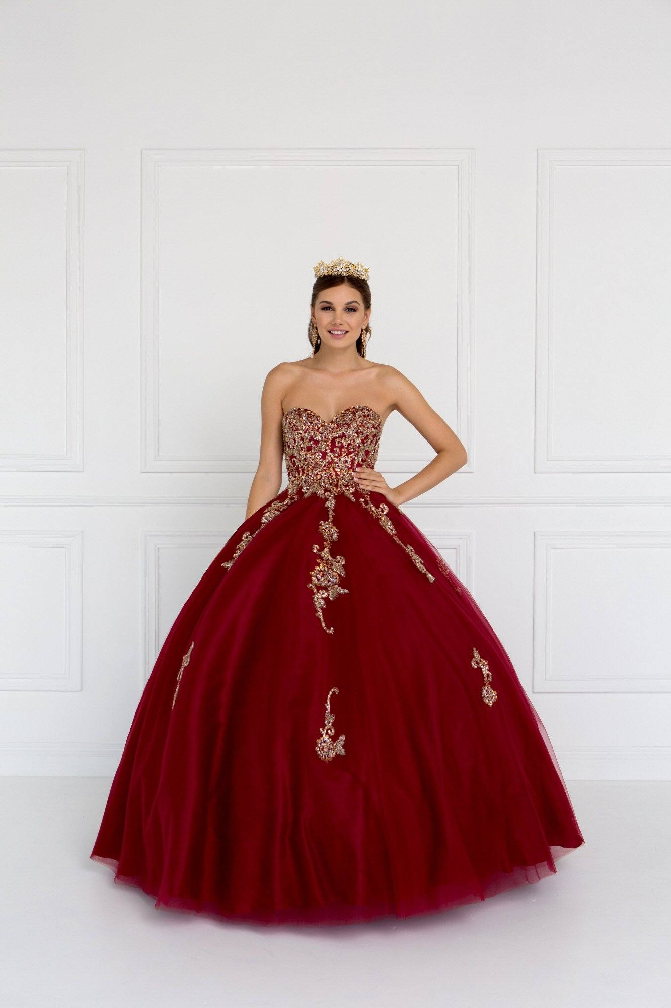 Strapless burgundy ball gown dress gls 1560 – Simply Fab Dress