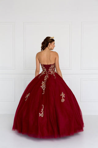 Strapless burgundy ball gown dress gls 1560-Simply Fab Dress