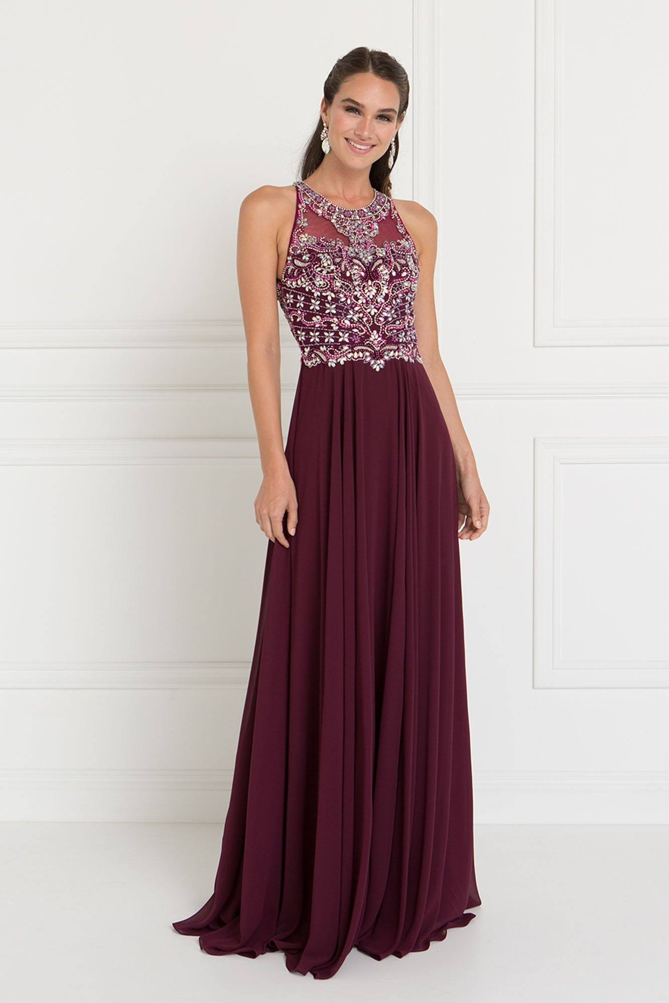 Burgundy Halter top prom dress – Simply Fab Dress
