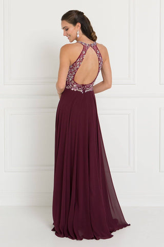 Burgundy Halter top prom dress GLS 1564-Simply Fab Dress