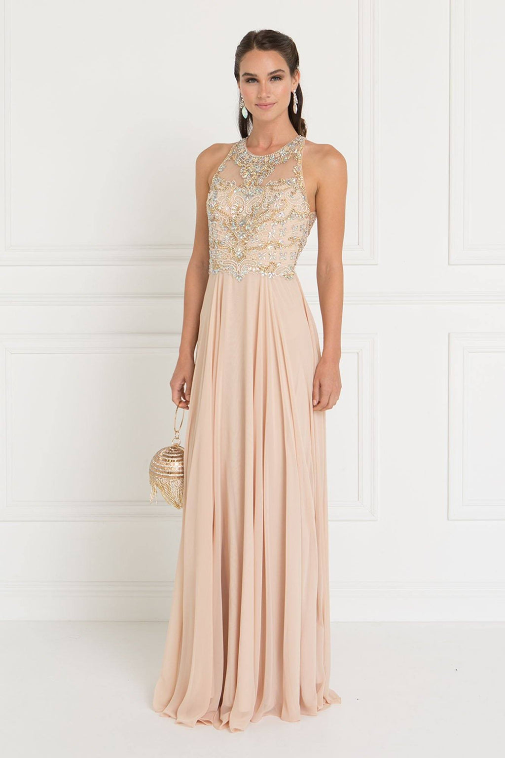 Sheer illusion champagne prom dress GLS 1564-Simply Fab Dress