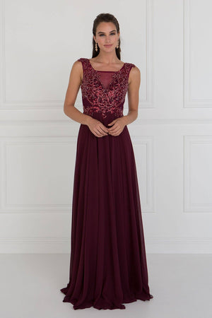 Burgundy long evening gown GLS 1566-Simply Fab Dress
