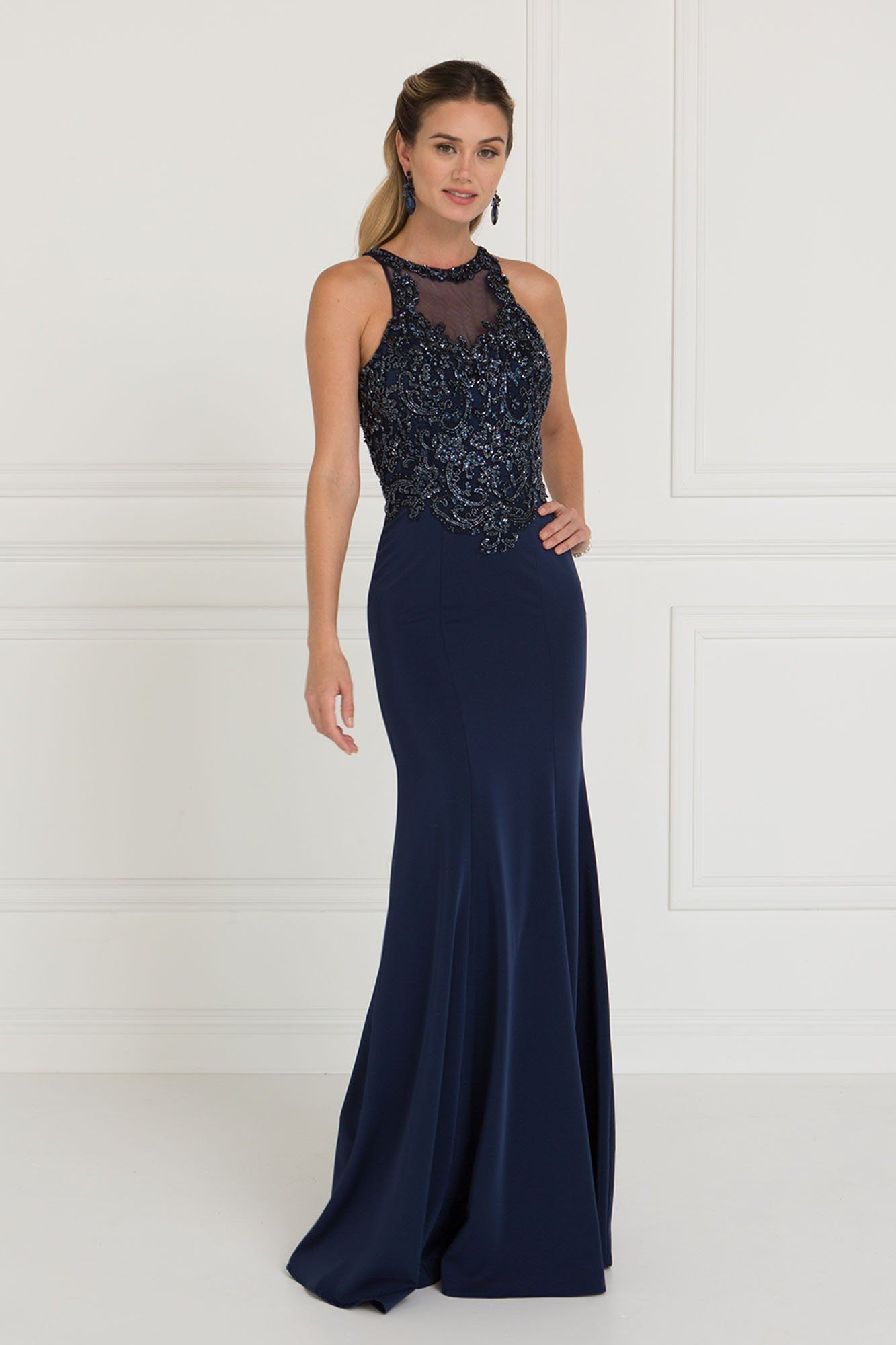 Navy Evening Dress Prom Gown Gls 1568 Simply Fab Dress