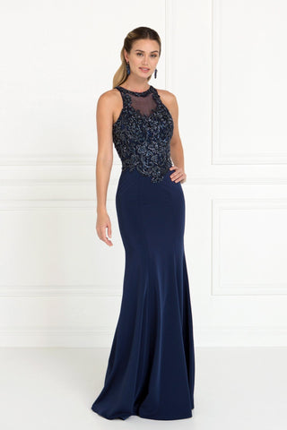 High Neck fitted prom dress   GLS 1568