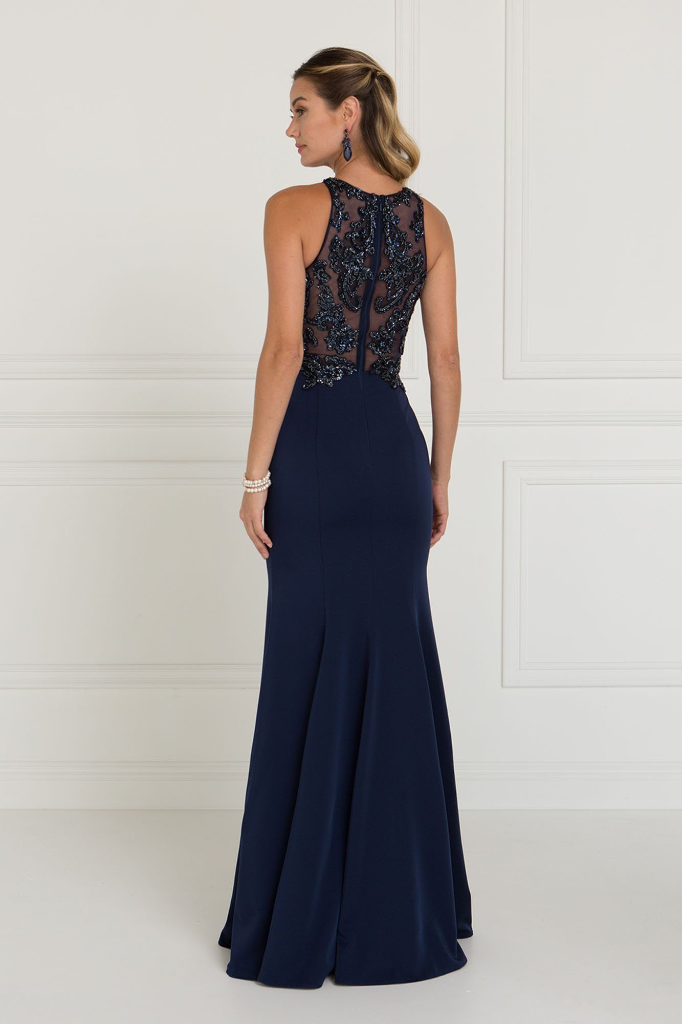 High Neck fitted prom dress GLS 1568-Simply Fab Dress