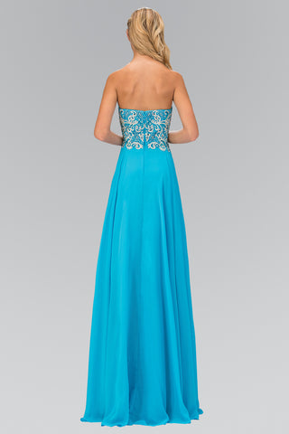 Strapless beaded bodice long formal dress gl2018 - Simply Fab Dress