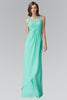 Sheer lace neckline empire waist long bridesmaid dress GL2061 - Simply Fab Dress