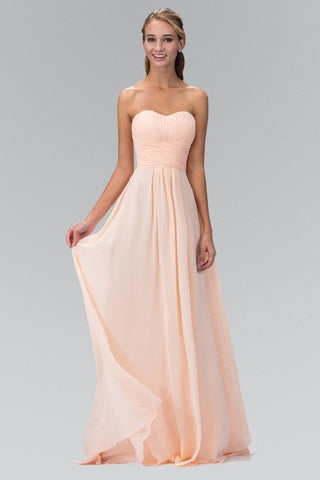 Strapless ruched bodice empire waist long chiffon bridesmaid dress 103-gl2070 - Simply Fab Dress