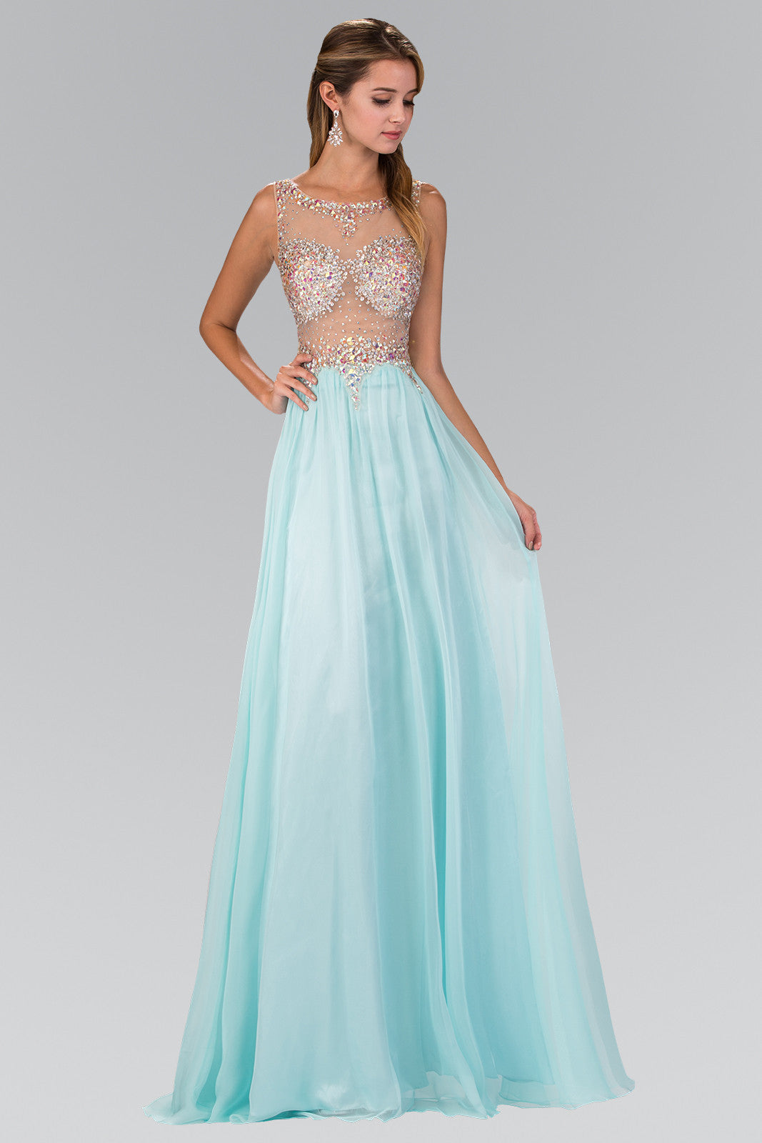 Sparkling Beaded Sheer Illusion Bodice Long Chiffon Prom Dress ...