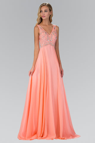 Sparkling Beaded Bodice V cut neckline Long Chiffon Prom Dress #gl2115 - Simply Fab Dress