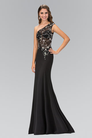 Sparkling Beaded Sheer Illusion Bodice Long fitted Prom Dress #gl2143 - Simply Fab Dress