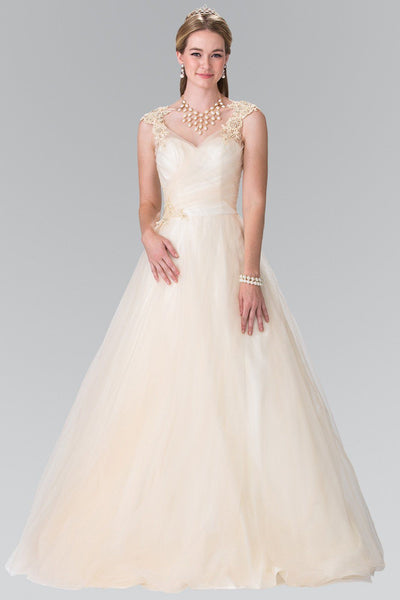 Champagne Ivory a-line ball gown wedding dress #gl2202 - Simply Fab Dress