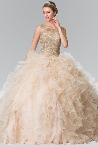 Sparkling gold embroidered bodice quinceanera Dress #gl2308 - Simply Fab Dress