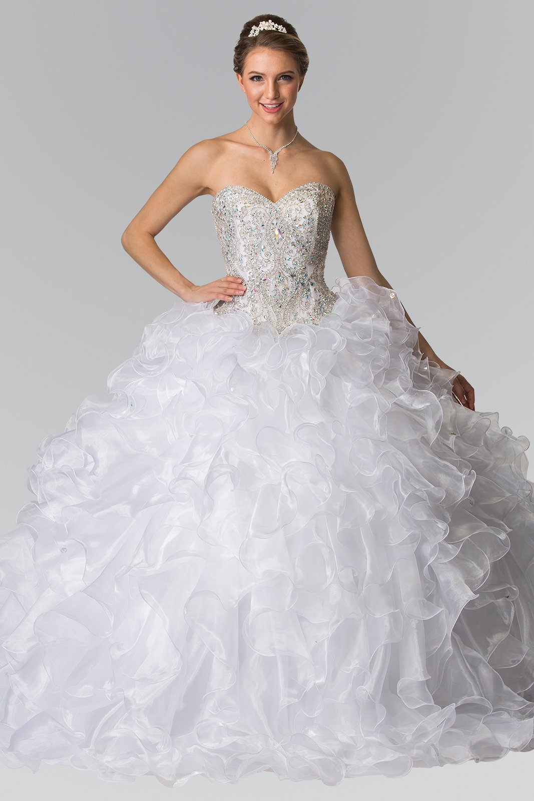 White princess quinceanera dress with ruffles gls 2209 – Simply Fab ...