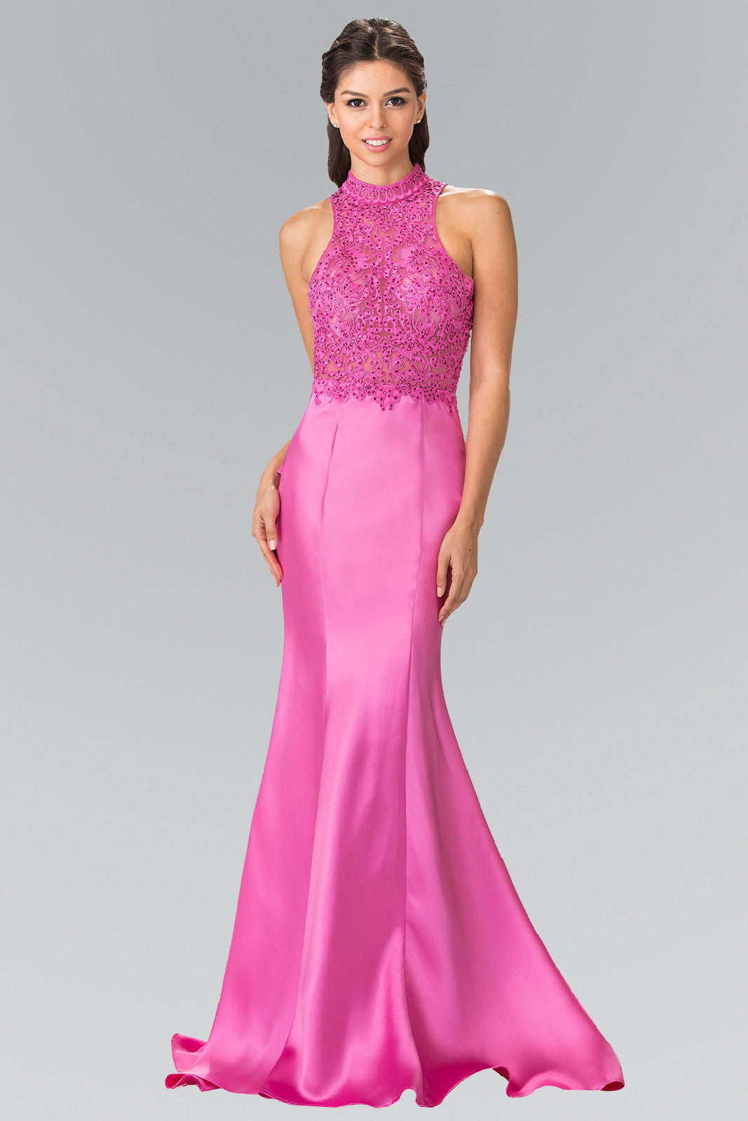 Pink high neck prom dress with ruffles – Simply Fab Dress
