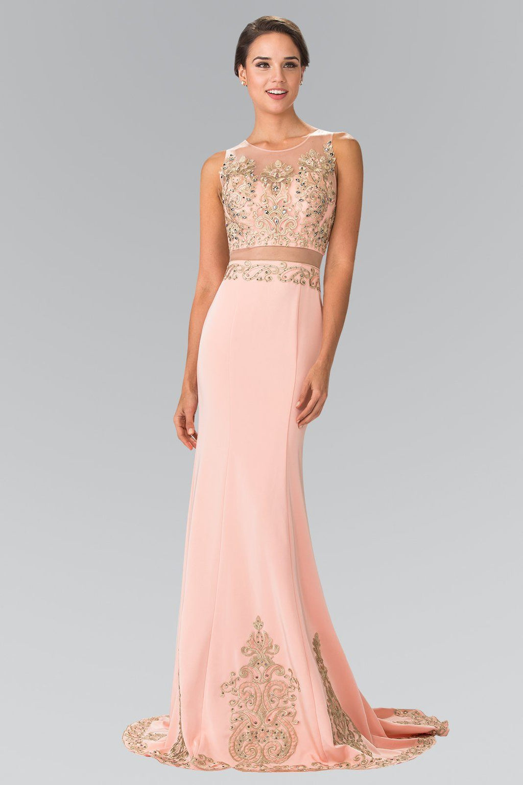 Illusion mock two piece prom dress gl2248-Simply Fab Dress