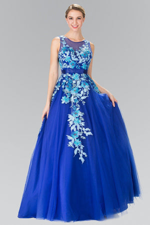 Floral accent ball gown quinceanera dress gl2252 - Simply Fab Dress