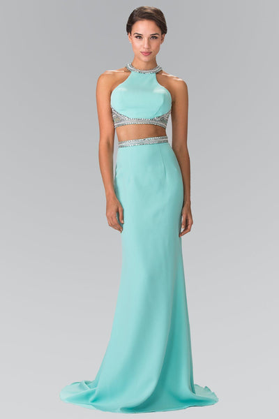 High neck Long 2 piece prom dress gl2256-Simply Fab Dress